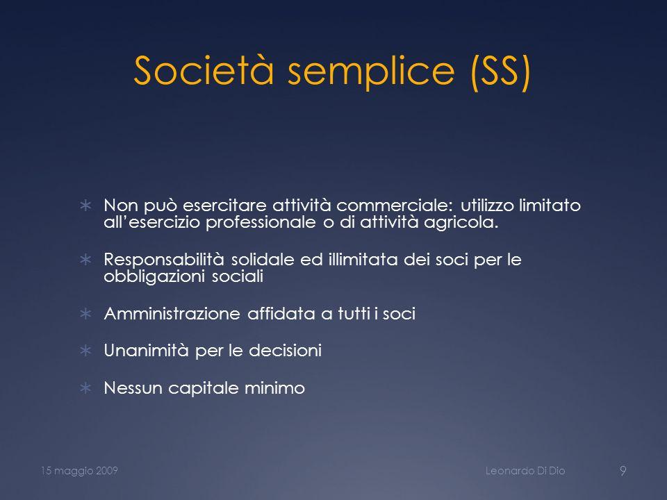Società semplice (SS) Non può esercitare attività commerciale: utilizzo limitato allesercizio professionale o di attività agricola. Responsabilità sol