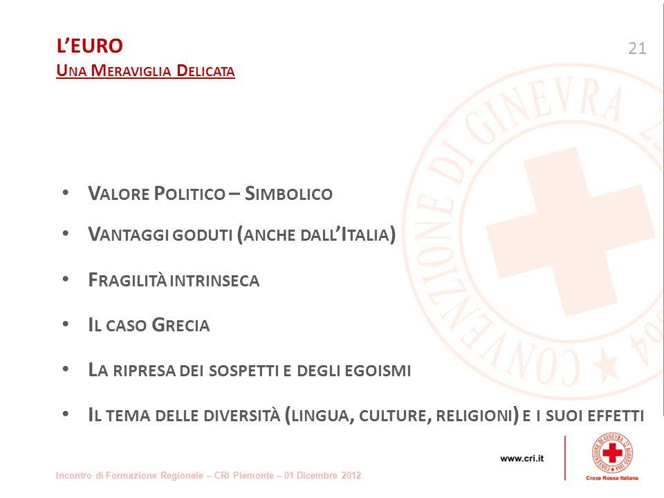 Incontro di Formazione Regionale – CRI Piemonte – 01 Dicembre 2012 V ALORE P OLITICO – S IMBOLICO V ANTAGGI GODUTI ( ANCHE DALL I TALIA ) F RAGILITÀ INTRINSECA I L CASO G RECIA L A RIPRESA DEI SOSPETTI E DEGLI EGOISMI I L TEMA DELLE DIVERSITÀ ( LINGUA, CULTURE, RELIGIONI ) E I SUOI EFFETTI 21 LEURO U NA M ERAVIGLIA D ELICATA