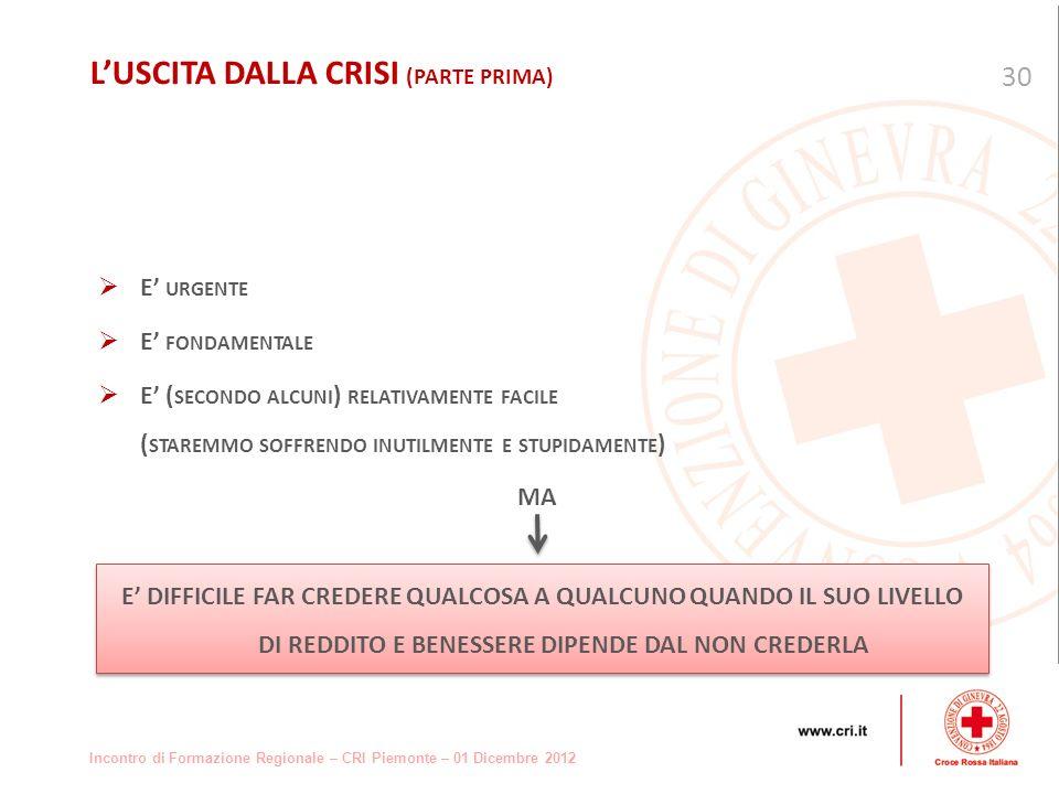 Incontro di Formazione Regionale – CRI Piemonte – 01 Dicembre 2012 E URGENTE E FONDAMENTALE E ( SECONDO ALCUNI ) RELATIVAMENTE FACILE ( STAREMMO SOFFRENDO INUTILMENTE E STUPIDAMENTE ) MA 30 LUSCITA DALLA CRISI (PARTE PRIMA) E DIFFICILE FAR CREDERE QUALCOSA A QUALCUNO QUANDO IL SUO LIVELLO DI REDDITO E BENESSERE DIPENDE DAL NON CREDERLA