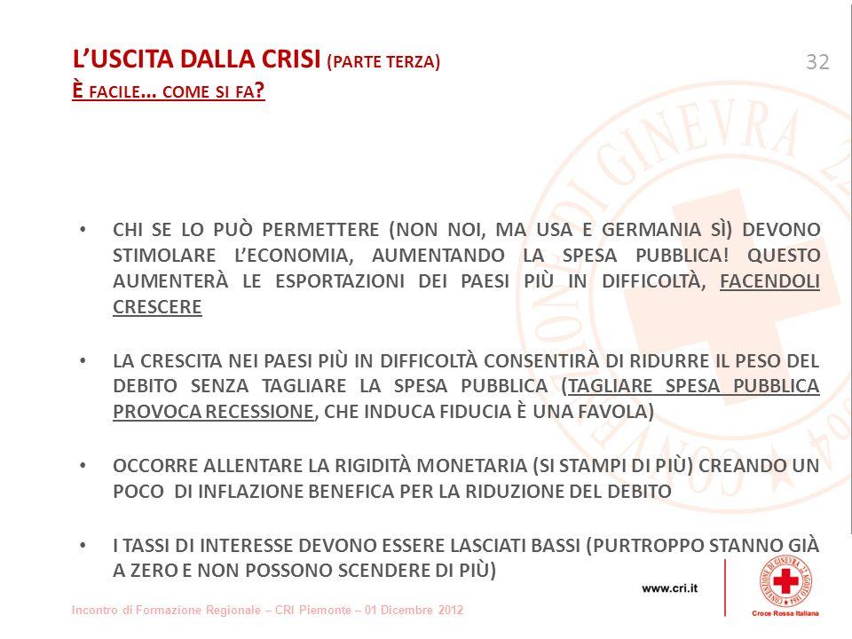Incontro di Formazione Regionale – CRI Piemonte – 01 Dicembre 2012 CHI SE LO PUÒ PERMETTERE (NON NOI, MA USA E GERMANIA SÌ) DEVONO STIMOLARE LECONOMIA, AUMENTANDO LA SPESA PUBBLICA.