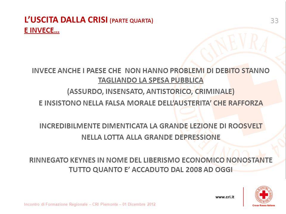 Incontro di Formazione Regionale – CRI Piemonte – 01 Dicembre 2012 INVECE ANCHE I PAESE CHE NON HANNO PROBLEMI DI DEBITO STANNO TAGLIANDO LA SPESA PUBBLICA (ASSURDO, INSENSATO, ANTISTORICO, CRIMINALE) E INSISTONO NELLA FALSA MORALE DELLAUSTERITA CHE RAFFORZA INCREDIBILMENTE DIMENTICATA LA GRANDE LEZIONE DI ROOSVELT NELLA LOTTA ALLA GRANDE DEPRESSIONE RINNEGATO KEYNES IN NOME DEL LIBERISMO ECONOMICO NONOSTANTE TUTTO QUANTO E ACCADUTO DAL 2008 AD OGGI 33 LUSCITA DALLA CRISI (PARTE QUARTA) E INVECE…