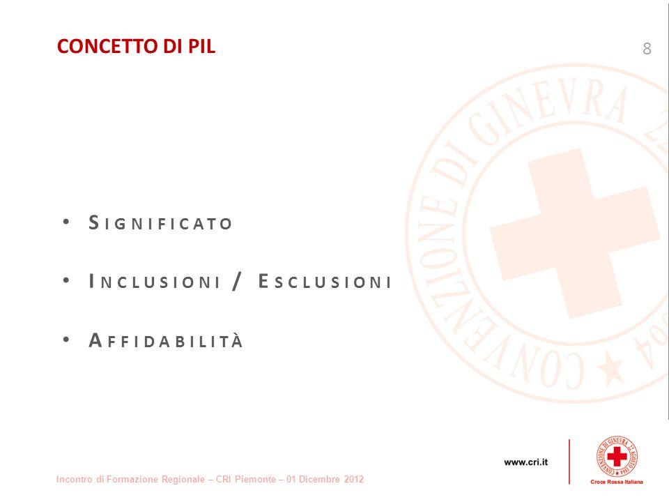 Incontro di Formazione Regionale – CRI Piemonte – 01 Dicembre 2012 S IGNIFICATO I NCLUSIONI / E SCLUSIONI A FFIDABILITÀ 8 CONCETTO DI PIL