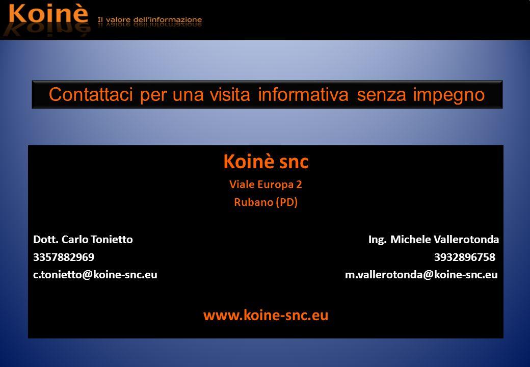 Koinè snc Viale Europa 2 Rubano (PD) Dott. Carlo Tonietto Ing. Michele Vallerotonda 3357882969 3932896758 c.tonietto@koine-snc.eu m.vallerotonda@koine
