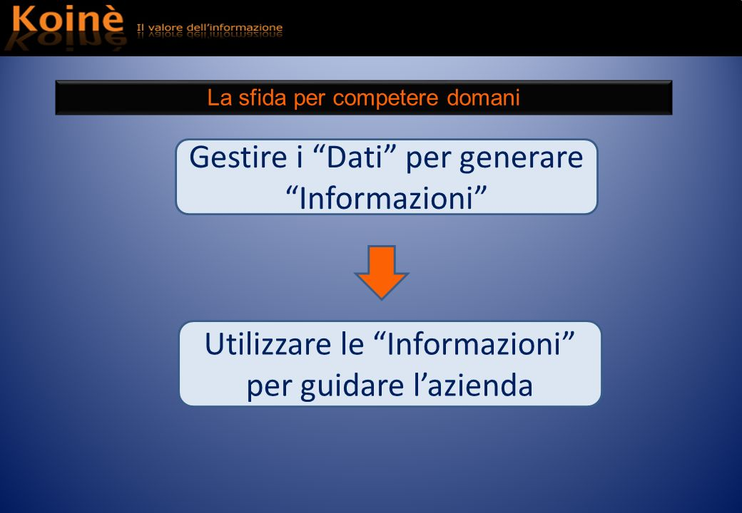 Utilizzare le Informazioni per guidare lazienda Gestire i Dati per generare Informazioni La sfida per competere domani