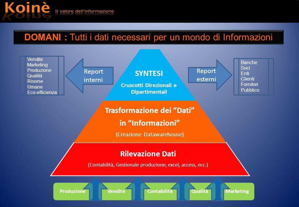 ProduzioneVenditeContabilitàQualitàMarketing Rilevazione Dati (Contabilità, Gestionale produzione, excel, access, ecc.) Trasformazione dei Dati in Inf
