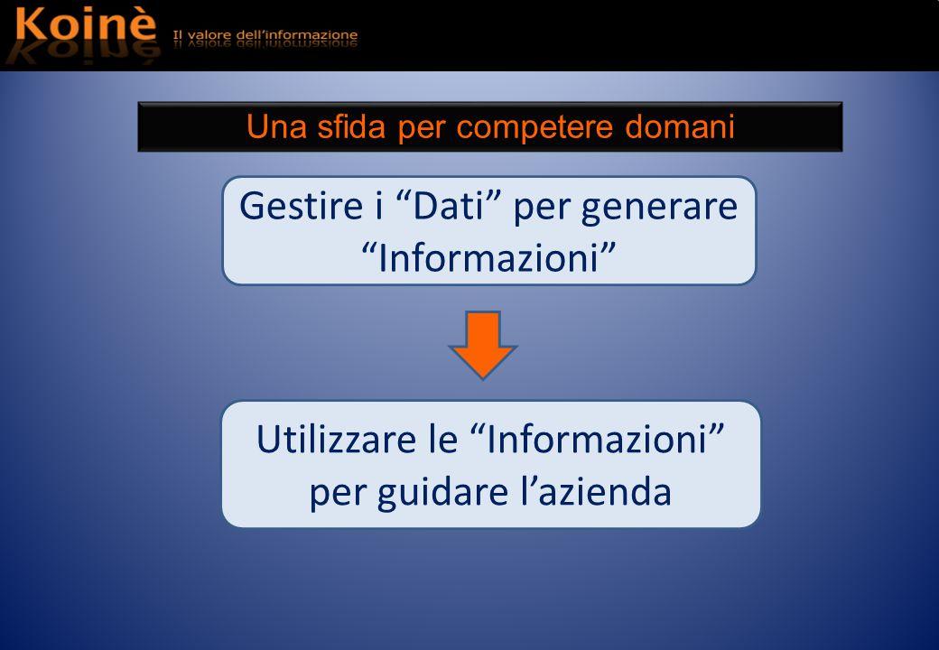 Utilizzare le Informazioni per guidare lazienda Gestire i Dati per generare Informazioni Una sfida per competere domani