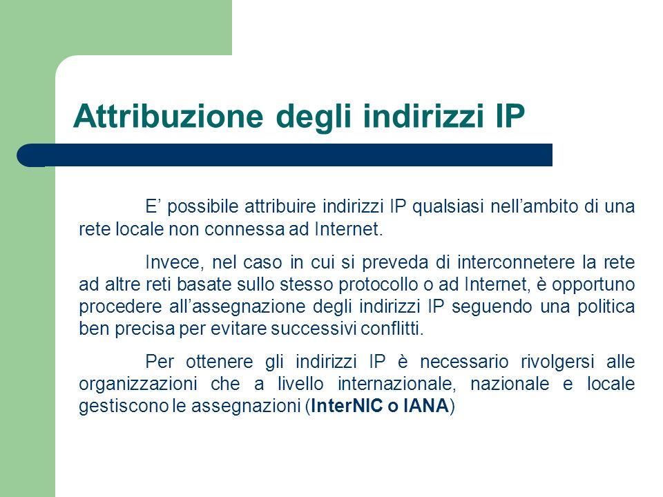 Attribuzione degli indirizzi IP E possibile attribuire indirizzi IP qualsiasi nellambito di una rete locale non connessa ad Internet. Invece, nel caso