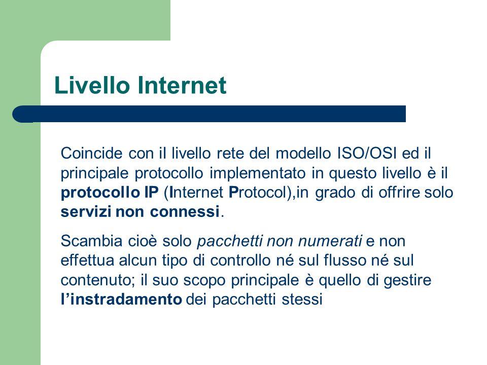 Livello Internet Coincide con iI livello rete del modello ISO/OSI ed il principale protocollo implementato in questo livello è il protocollo IP (Inter