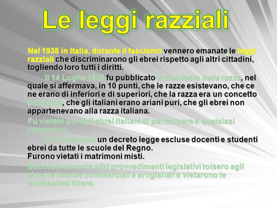 Nel 1938 in Italia, durante il fascismo vennero emanate le leggi razziali che discriminarono gli ebrei rispetto agli altri cittadini, togliendo loro t