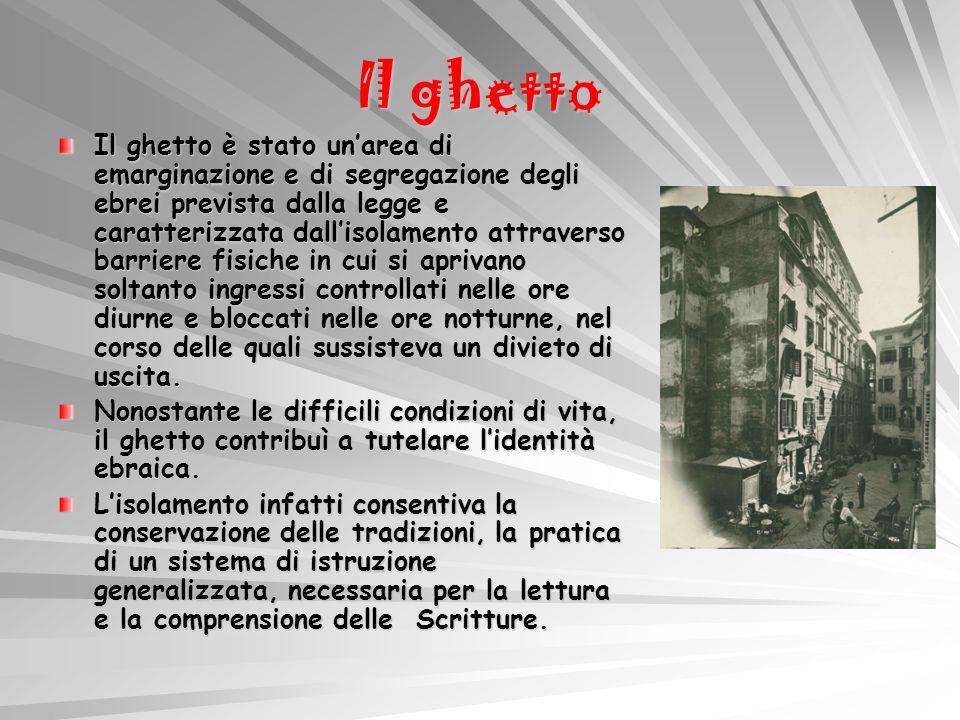 Il ghetto Il ghetto è stato unarea di emarginazione e di segregazione degli ebrei prevista dalla legge e caratterizzata dallisolamento attraverso barr