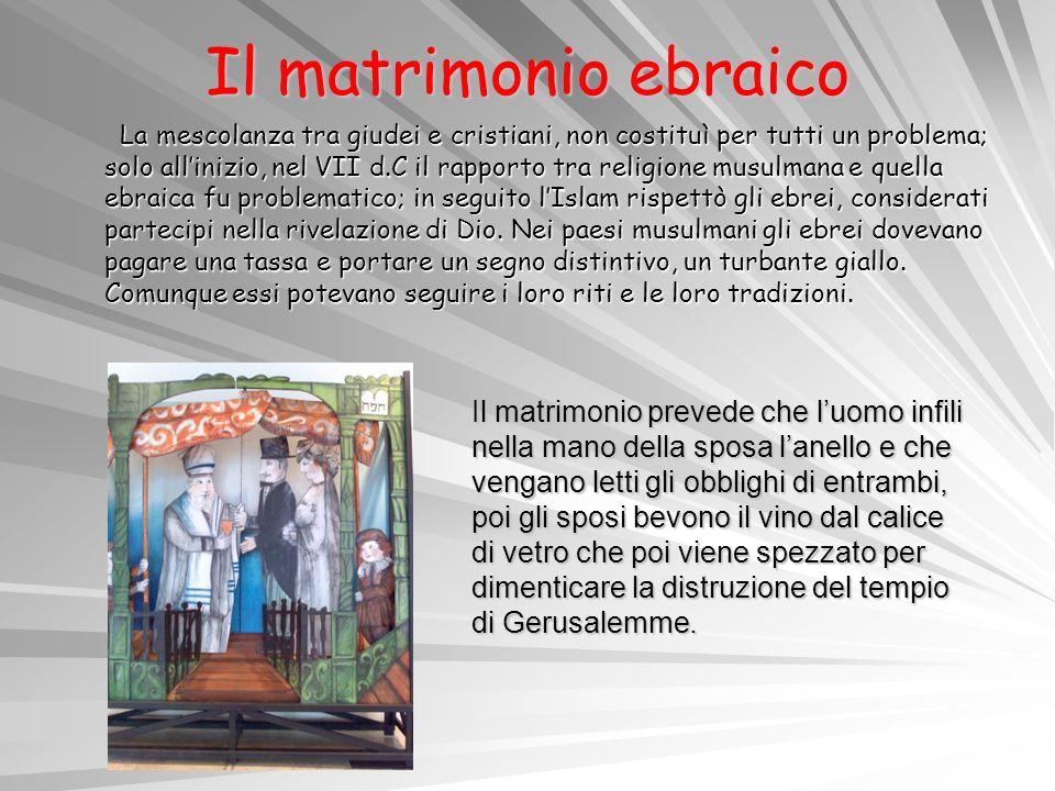 Il matrimonio ebraico La mescolanza tra giudei e cristiani, non costituì per tutti un problema; solo allinizio, nel VII d.C il rapporto tra religione