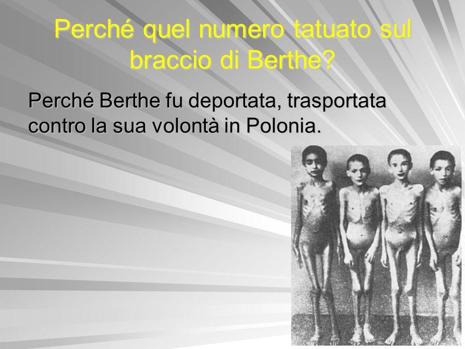 Perché Berthe fu deportata, trasportata contro la sua volontà in Polonia. Perché quel numero tatuato sul braccio di Berthe?