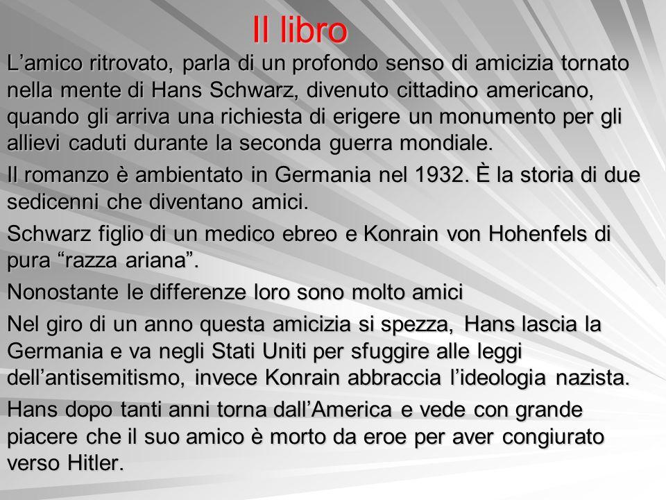 Il libro Lamico ritrovato, parla di un profondo senso di amicizia tornato nella mente di Hans Schwarz, divenuto cittadino americano, quando gli arriva
