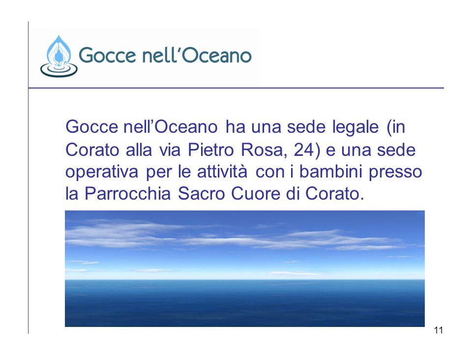 11 Gocce nellOceano ha una sede legale (in Corato alla via Pietro Rosa, 24) e una sede operativa per le attività con i bambini presso la Parrocchia Sa