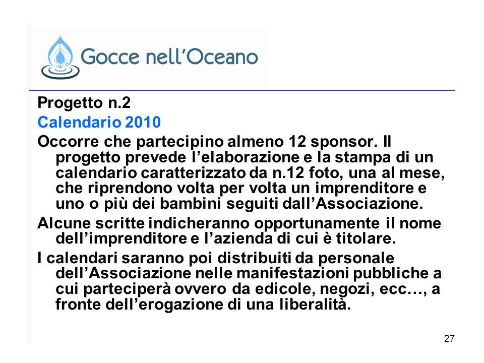 27 Progetto n.2 Calendario 2010 Occorre che partecipino almeno 12 sponsor. Il progetto prevede lelaborazione e la stampa di un calendario caratterizza