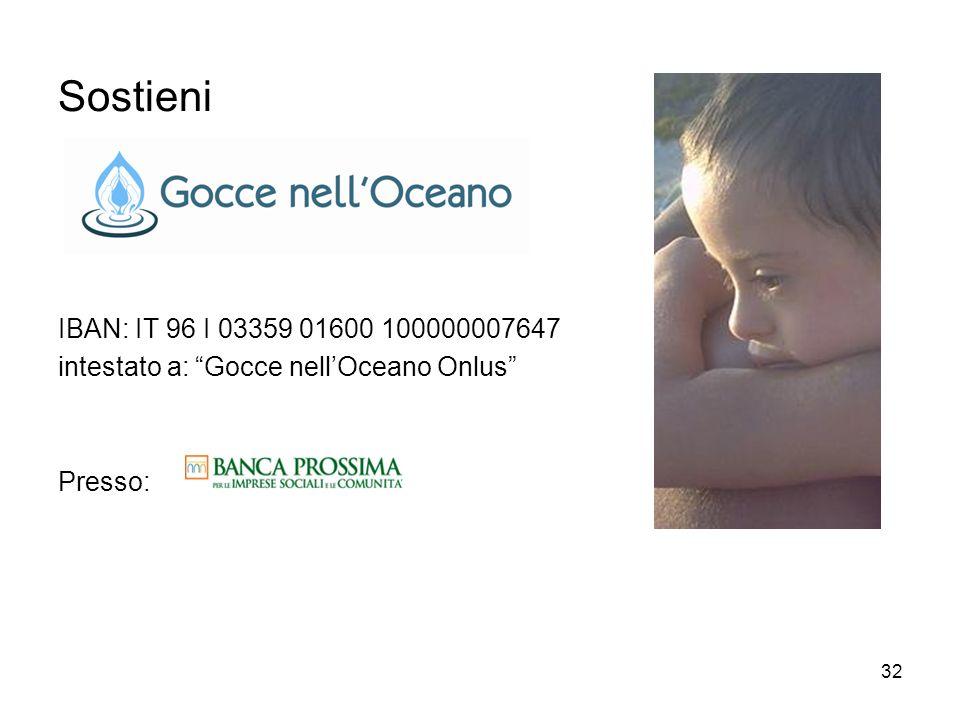 32 Sostieni IBAN: IT 96 I 03359 01600 100000007647 intestato a: Gocce nellOceano Onlus Presso: