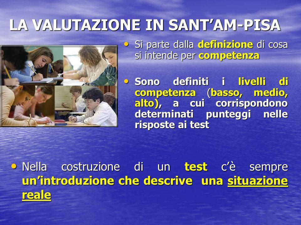 LA VALUTAZIONE IN SANTAM-PISA Si parte dalla definizione di cosa si intende per competenza Si parte dalla definizione di cosa si intende per competenz