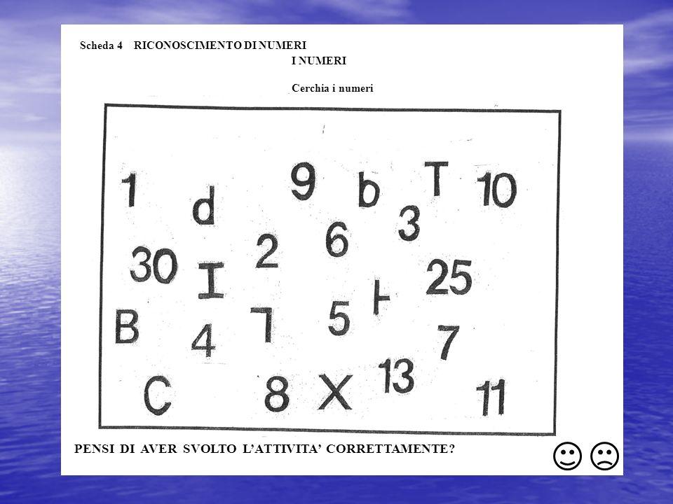 Scheda 4 RICONOSCIMENTO DI NUMERI I NUMERI Cerchia i numeri PENSI DI AVER SVOLTO LATTIVITA CORRETTAMENTE?