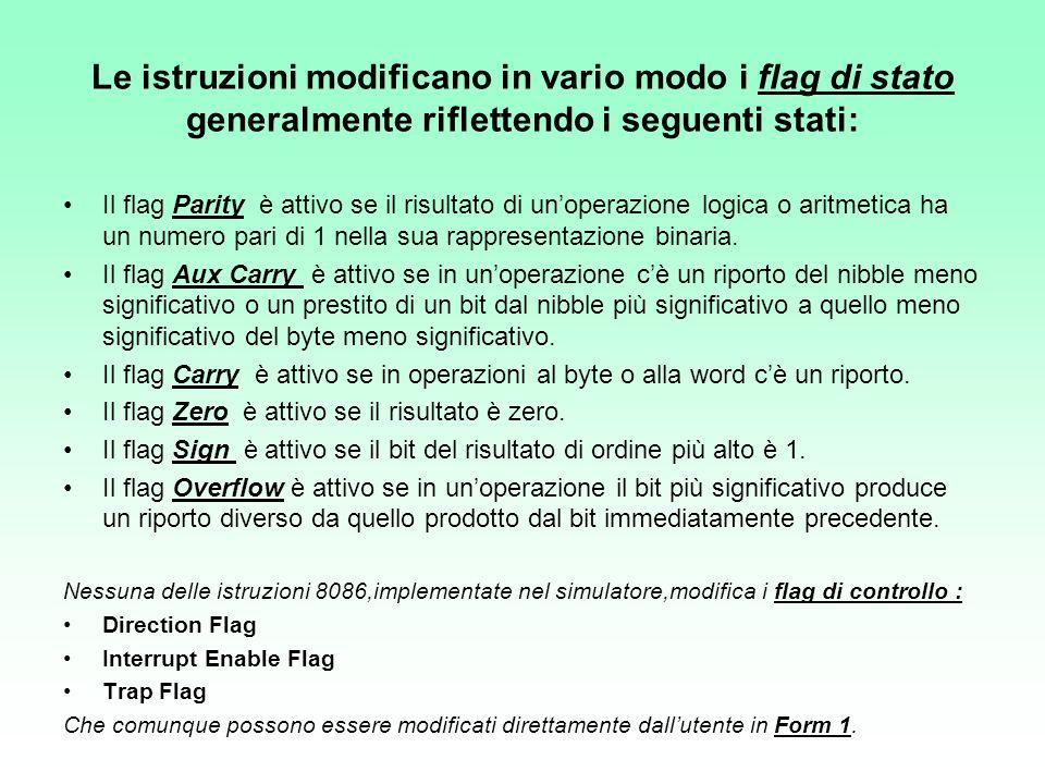Le istruzioni modificano in vario modo i flag di stato generalmente riflettendo i seguenti stati: Il flag Parity è attivo se il risultato di unoperazi