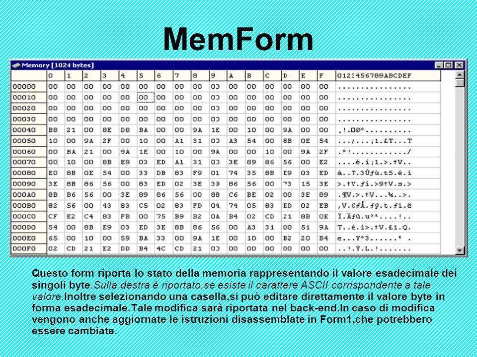 MemForm Questo form riporta lo stato della memoria rappresentando il valore esadecimale dei singoli byte.Sulla destra è riportato,se esiste il caratte