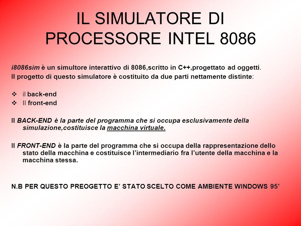 IL SIMULATORE DI PROCESSORE INTEL 8086 i8086sim è un simultore interattivo di 8086,scritto in C++,progettato ad oggetti. Il progetto di questo simulat