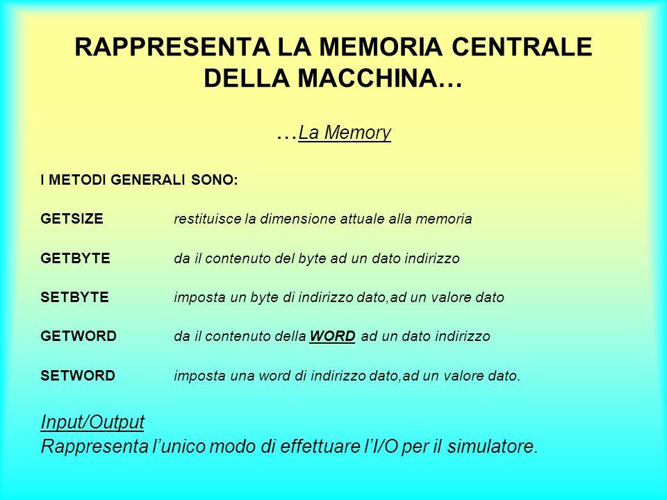 RAPPRESENTA LA MEMORIA CENTRALE DELLA MACCHINA… … La Memory I METODI GENERALI SONO: GETSIZErestituisce la dimensione attuale alla memoria GETBYTEda il
