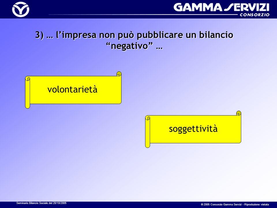 Seminario Bilancio Sociale del 20/10/2005 © 2005 Consorzio Gamma Servizi - Riproduzione vietata 3) … limpresa non può pubblicare un bilancio negativo … volontarietà soggettività