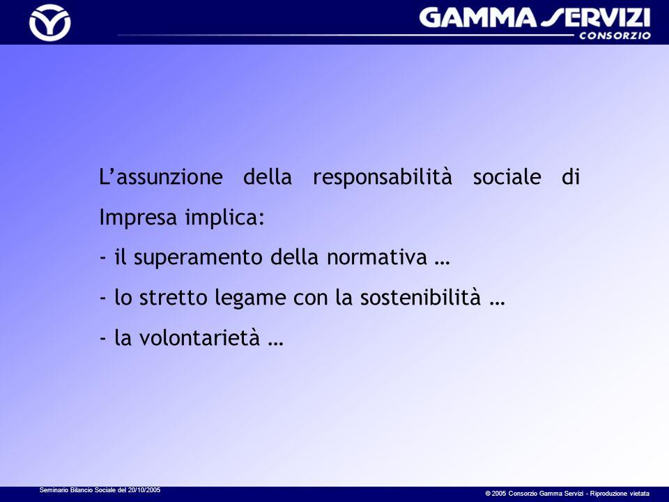 Seminario Bilancio Sociale del 20/10/2005 © 2005 Consorzio Gamma Servizi - Riproduzione vietata Lassunzione della responsabilità sociale di Impresa implica: - il superamento della normativa … - lo stretto legame con la sostenibilità … - la volontarietà …