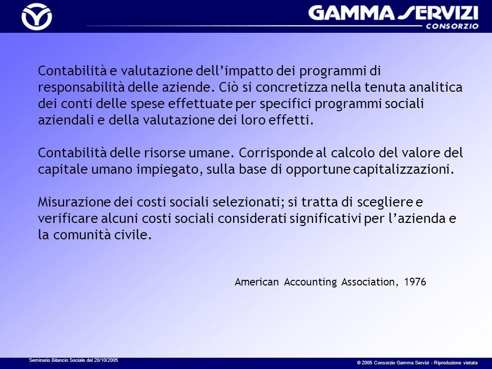 Seminario Bilancio Sociale del 20/10/2005 © 2005 Consorzio Gamma Servizi - Riproduzione vietata Contabilità e valutazione dellimpatto dei programmi di responsabilità delle aziende.