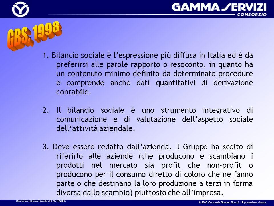 Seminario Bilancio Sociale del 20/10/2005 © 2005 Consorzio Gamma Servizi - Riproduzione vietata 1. Bilancio sociale è lespressione più diffusa in Ital