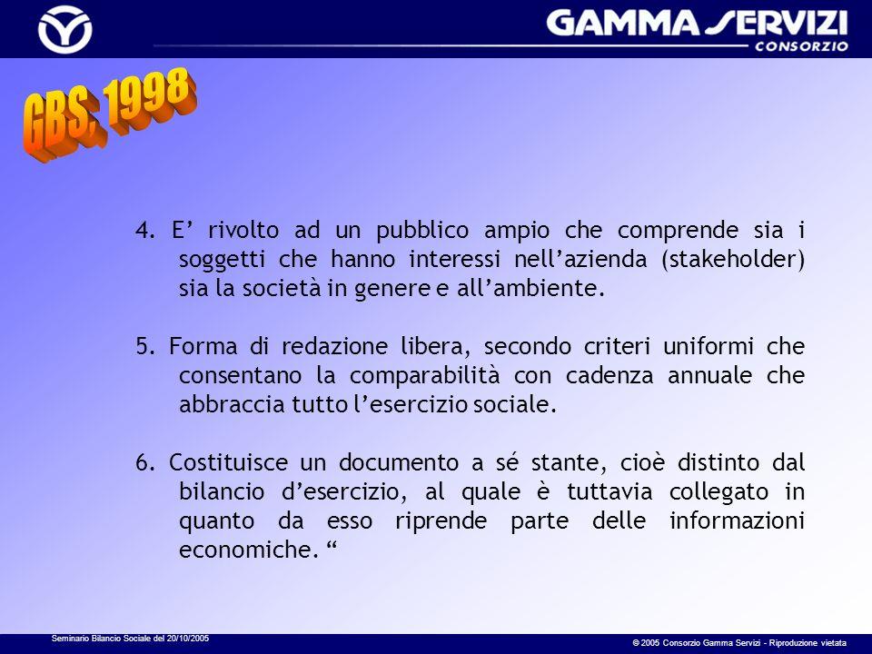Seminario Bilancio Sociale del 20/10/2005 © 2005 Consorzio Gamma Servizi - Riproduzione vietata 4. E rivolto ad un pubblico ampio che comprende sia i