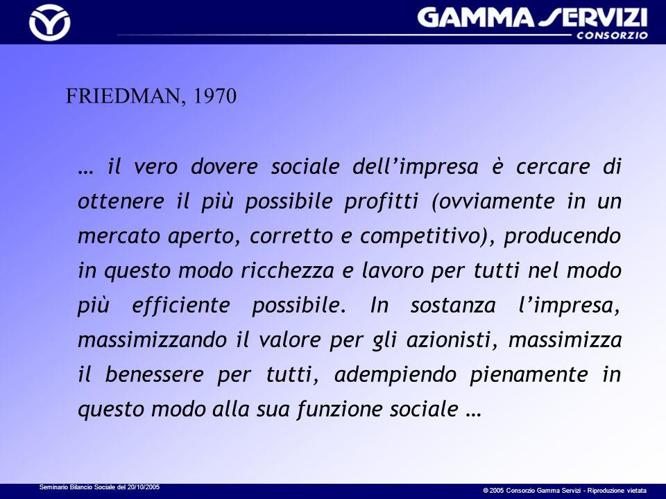Seminario Bilancio Sociale del 20/10/2005 © 2005 Consorzio Gamma Servizi - Riproduzione vietata FRIEDMAN, 1970 … il vero dovere sociale dellimpresa è