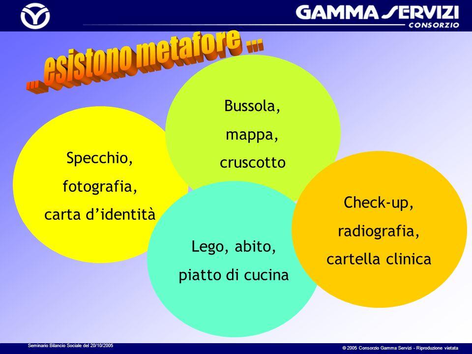 Seminario Bilancio Sociale del 20/10/2005 © 2005 Consorzio Gamma Servizi - Riproduzione vietata Specchio, fotografia, carta didentità Bussola, mappa,