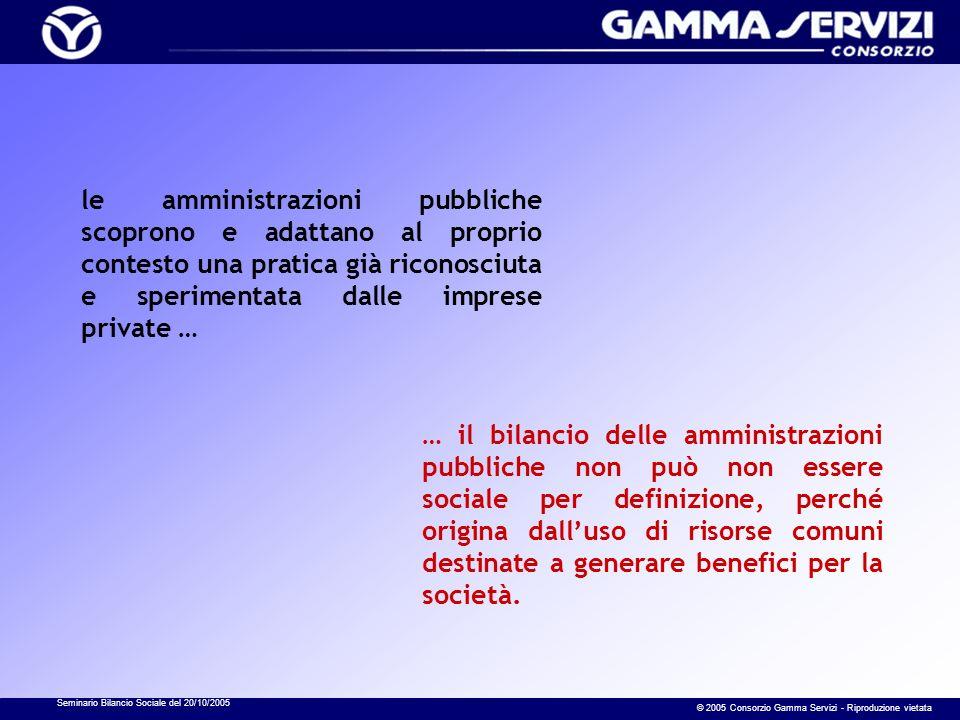 Seminario Bilancio Sociale del 20/10/2005 © 2005 Consorzio Gamma Servizi - Riproduzione vietata le amministrazioni pubbliche scoprono e adattano al pr