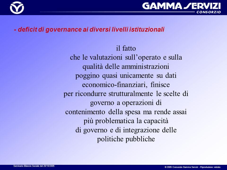 Seminario Bilancio Sociale del 20/10/2005 © 2005 Consorzio Gamma Servizi - Riproduzione vietata - deficit di governance ai diversi livelli istituziona