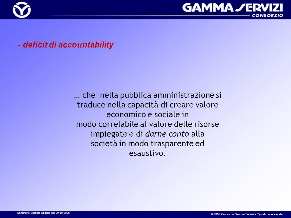 Seminario Bilancio Sociale del 20/10/2005 © 2005 Consorzio Gamma Servizi - Riproduzione vietata … che nella pubblica amministrazione si traduce nella