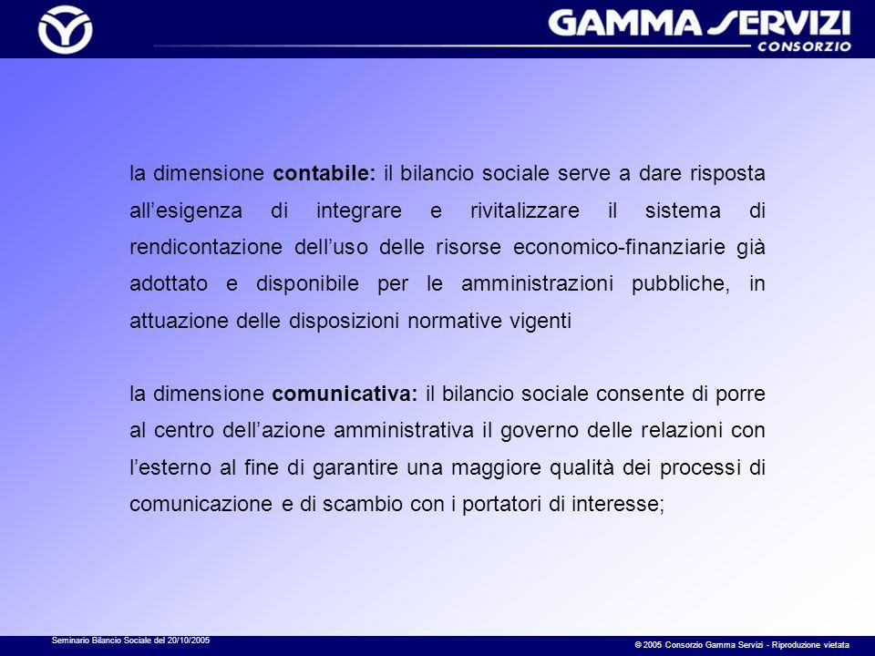 Seminario Bilancio Sociale del 20/10/2005 © 2005 Consorzio Gamma Servizi - Riproduzione vietata la dimensione contabile: il bilancio sociale serve a d