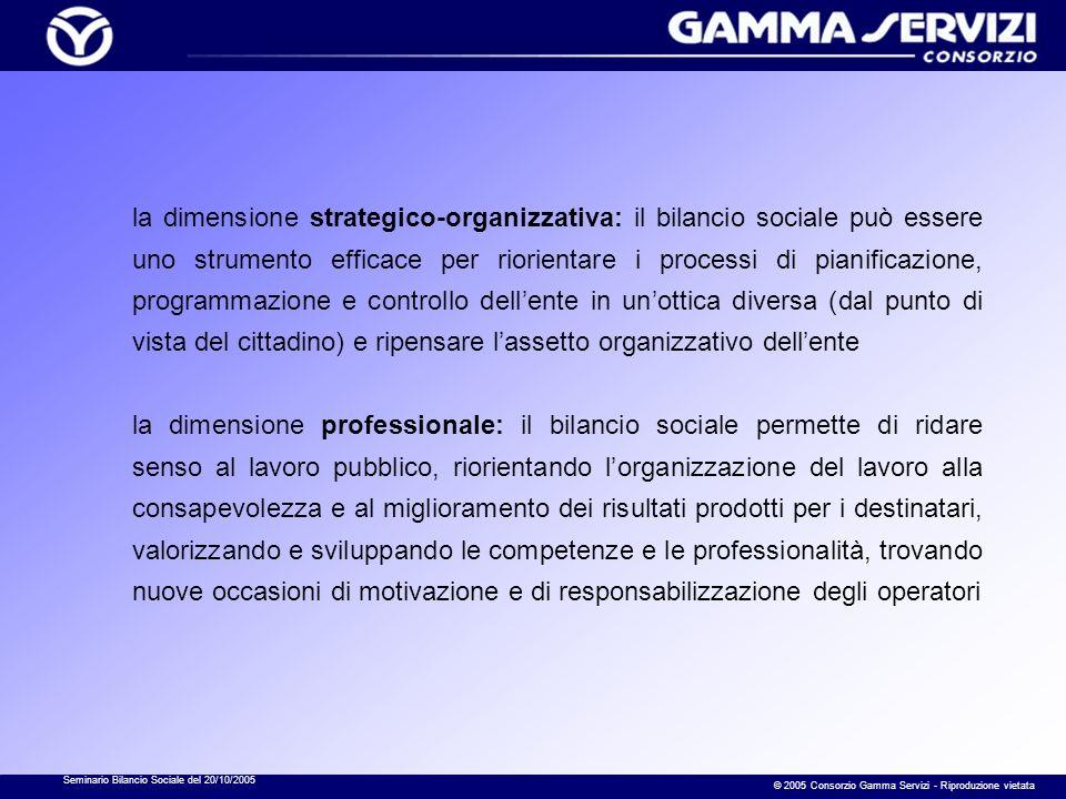 Seminario Bilancio Sociale del 20/10/2005 © 2005 Consorzio Gamma Servizi - Riproduzione vietata la dimensione strategico-organizzativa: il bilancio so