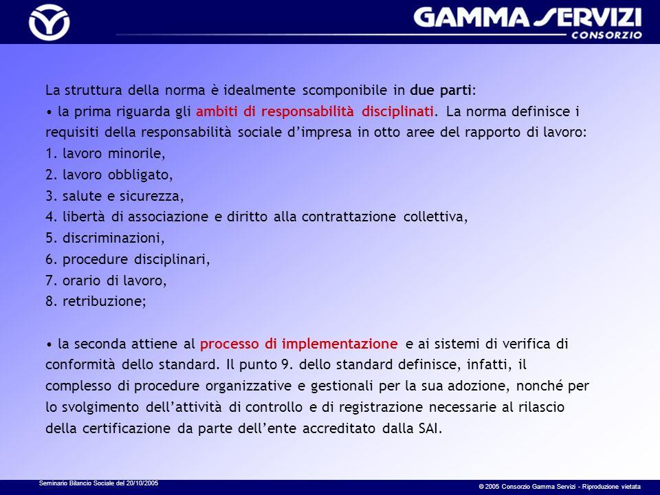 Seminario Bilancio Sociale del 20/10/2005 © 2005 Consorzio Gamma Servizi - Riproduzione vietata La struttura della norma è idealmente scomponibile in