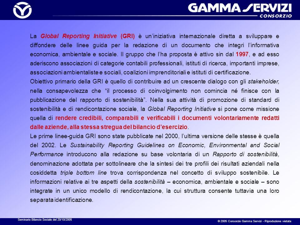 Seminario Bilancio Sociale del 20/10/2005 © 2005 Consorzio Gamma Servizi - Riproduzione vietata La Global Reporting Initiative (GRI) è uniniziativa internazionale diretta a sviluppare e diffondere delle linee guida per la redazione di un documento che integri linformativa economica, ambientale e sociale.