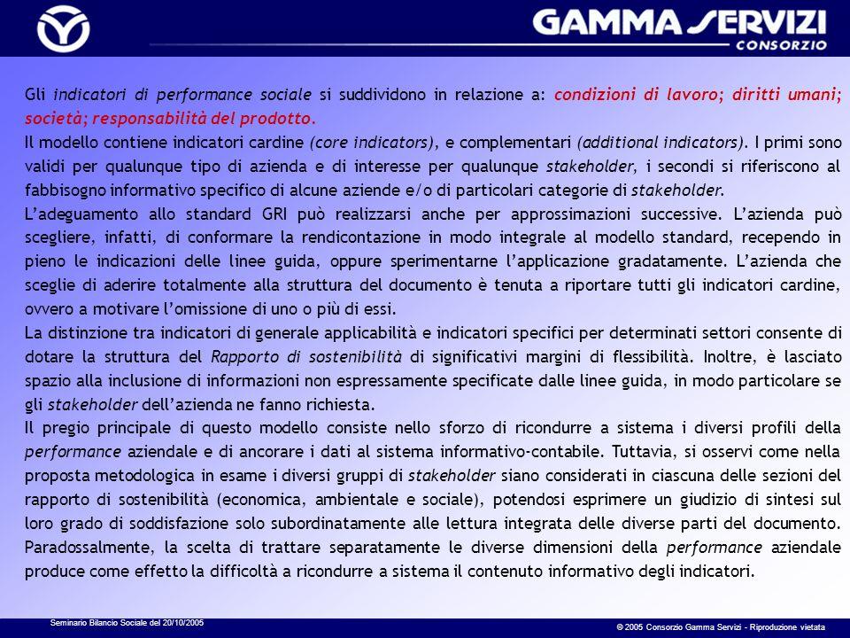Seminario Bilancio Sociale del 20/10/2005 © 2005 Consorzio Gamma Servizi - Riproduzione vietata Gli indicatori di performance sociale si suddividono i