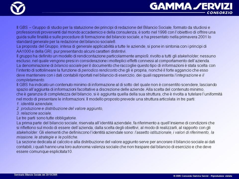 Seminario Bilancio Sociale del 20/10/2005 © 2005 Consorzio Gamma Servizi - Riproduzione vietata Il GBS – Gruppo di studio per la statuizione dei princ