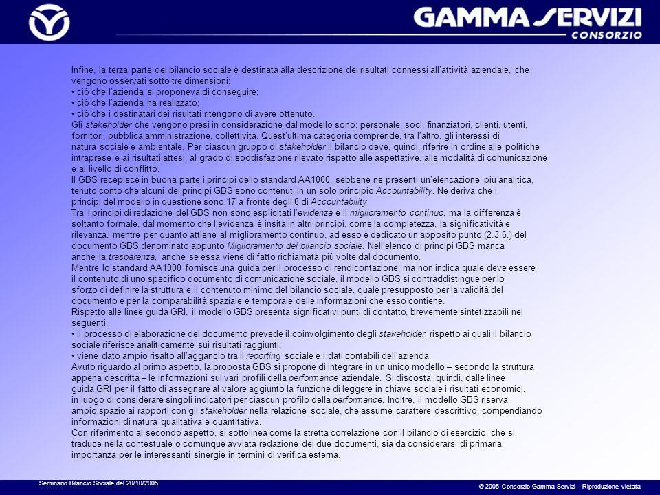 Seminario Bilancio Sociale del 20/10/2005 © 2005 Consorzio Gamma Servizi - Riproduzione vietata Infine, la terza parte del bilancio sociale è destinat