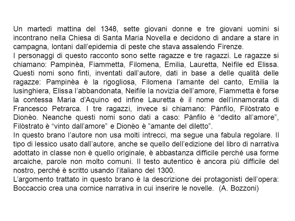 Un martedì mattina del 1348, sette giovani donne e tre giovani uomini si incontrano nella Chiesa di Santa Maria Novella e decidono di andare a stare i