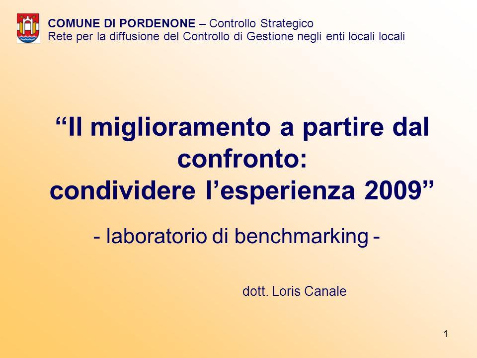 1 Il miglioramento a partire dal confronto: condividere lesperienza 2009 - laboratorio di benchmarking - COMUNE DI PORDENONE – Controllo Strategico Rete per la diffusione del Controllo di Gestione negli enti locali locali dott.