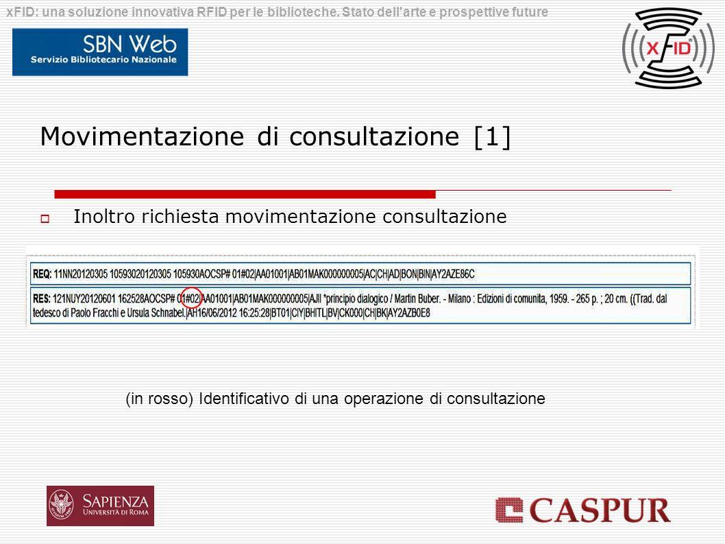 Movimentazione di consultazione [1] Inoltro richiesta movimentazione consultazione xFID: una soluzione innovativa RFID per le biblioteche. Stato dell'