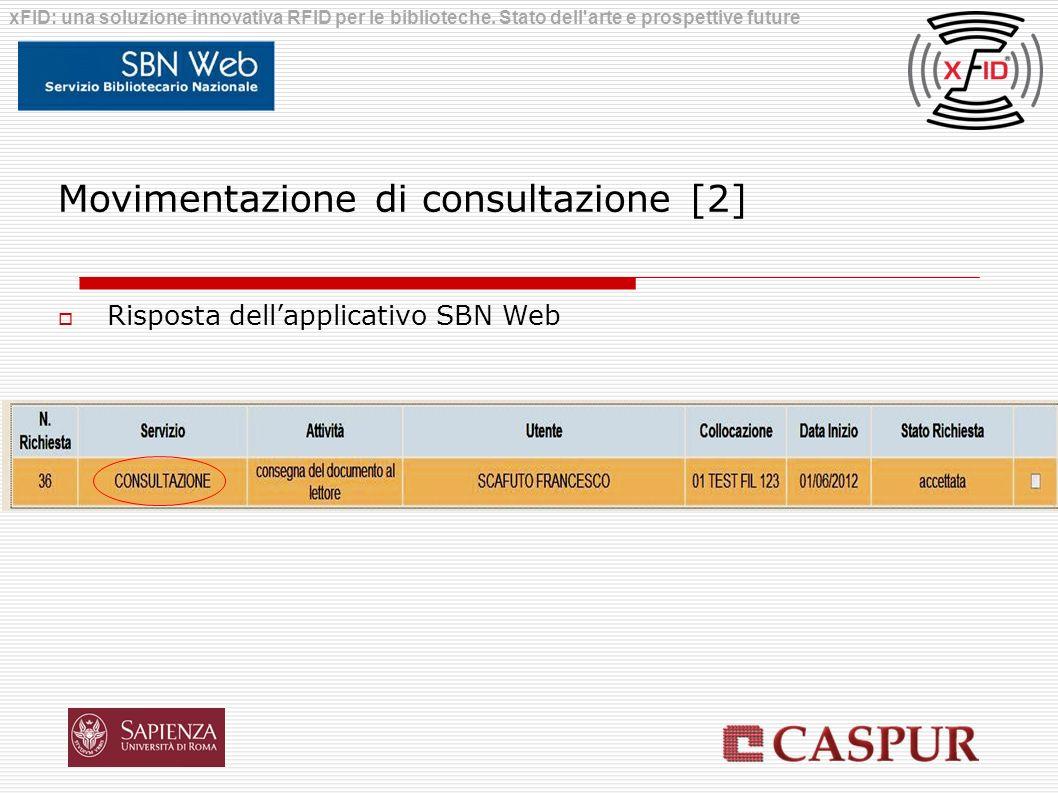 Movimentazione di consultazione [2] Risposta dellapplicativo SBN Web xFID: una soluzione innovativa RFID per le biblioteche. Stato dell'arte e prospet
