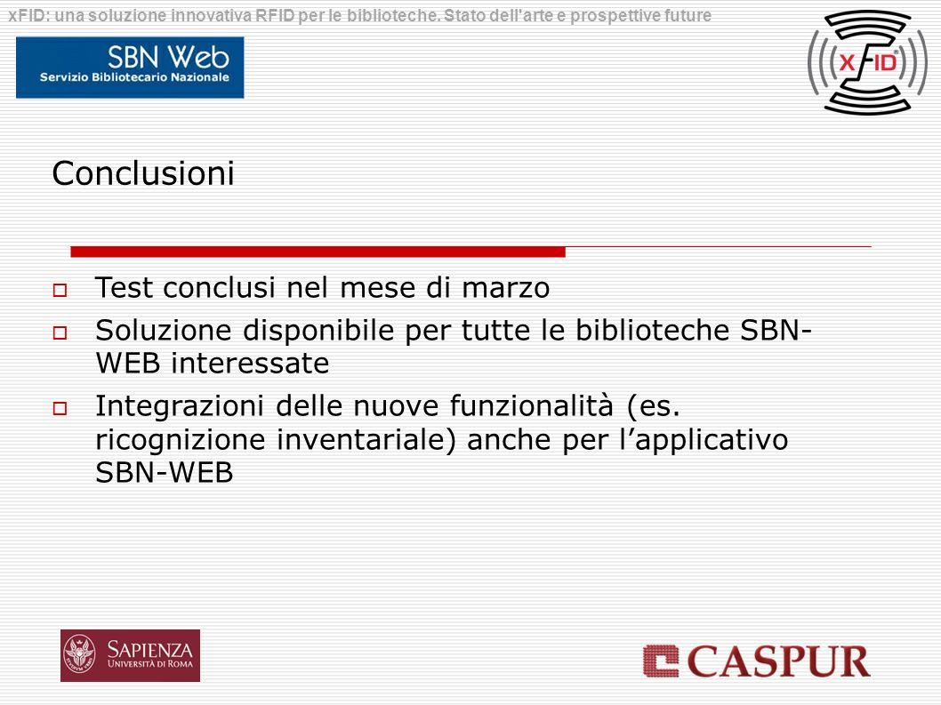 Conclusioni Test conclusi nel mese di marzo Soluzione disponibile per tutte le biblioteche SBN- WEB interessate Integrazioni delle nuove funzionalità