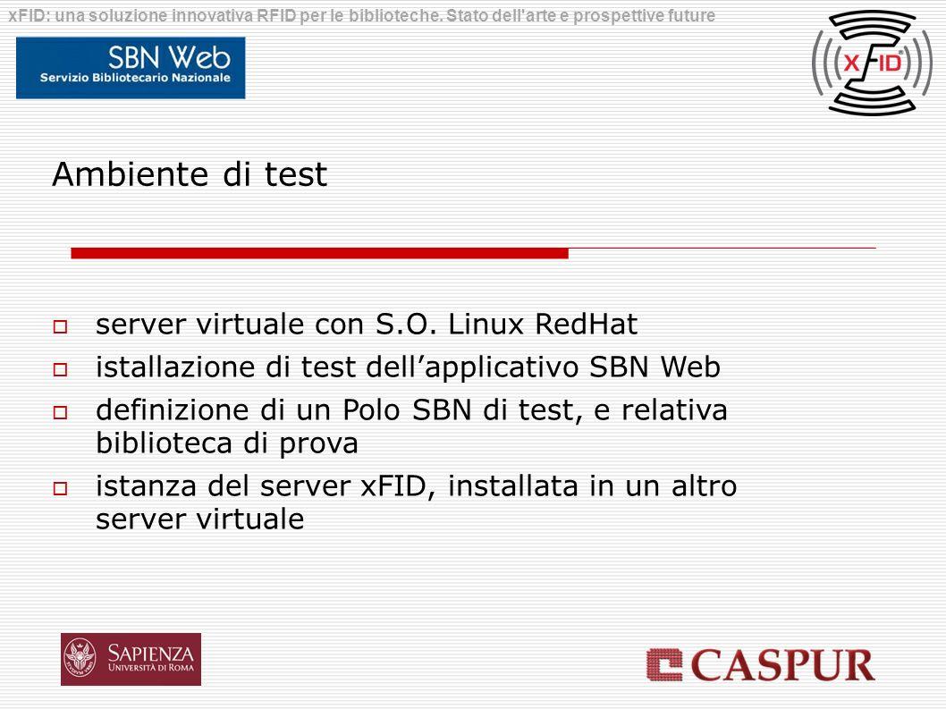 Ambiente di test server virtuale con S.O. Linux RedHat istallazione di test dellapplicativo SBN Web definizione di un Polo SBN di test, e relativa bib