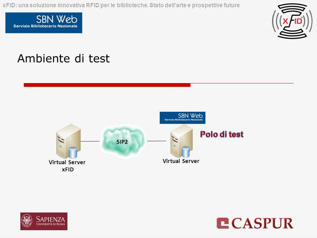 Virtual Server xFID Virtual Server SIP2 Ambiente di test xFID: una soluzione innovativa RFID per le biblioteche. Stato dell'arte e prospettive future